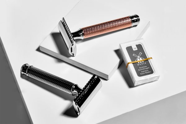 Muhle Silver & Rose Gold Safety Razor and Blade Replacements | eco friendly reusable razors UK at organic beauty online store CONTENT Beauty