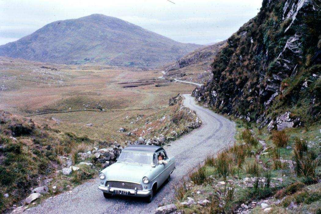 vintage car mountains highway roadtrip