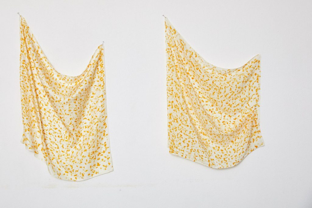 ound silk scarf flower petal yellow